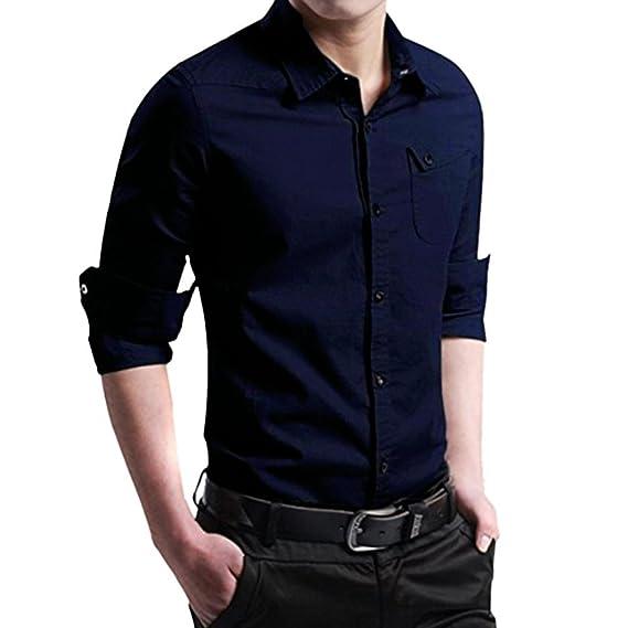 Hffan Herren-Hemd Slim-Fit Mode Werkzeughemd mit Kragen Shirt Tops  Oberteile Dunkelgrün Schwarz 2fe217e107