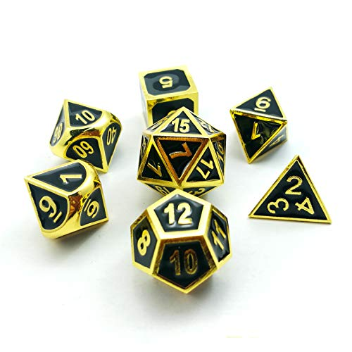 - Bescon Super Shiny Deluxe Golden and Enamel Solid Metal Polyhedral Dice Set of 7 Gold Metallic RPG Role Playing Game Dice 7pcs set D4-D20