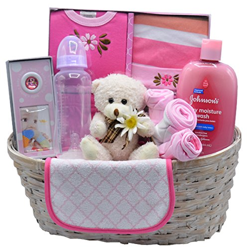 Nikki's New Arrival Baby Girl Gift Basket (Pink)