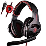 SADES SA903 7.1 Channel Surround Stereo Noise Canceling LED Light USB Wired Over Ear PC Gaming Headset with Mic - Black/Red