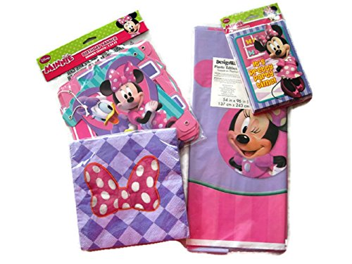 (Minnie Mouse Birthday Supplies Banner, Invitations, Napkins, Tablecloth)