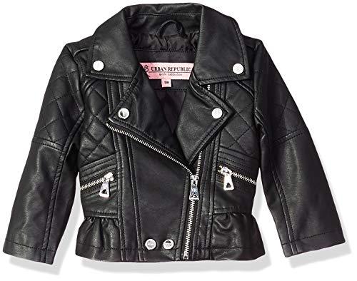 Price comparison product image Urban Republic Baby Girls Distressed Pu Jackets, Black, 24M