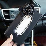 GHANDG Tissue Container Car Sun Visor PU Leather Tissue Box Auto Clip Holder with Retro Flower Paper Storage Case (Color : Black)