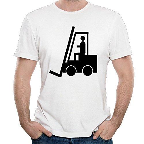 Duxa Men's Fork Lift Truck Driver Art Printing White Tshirt Bandit Fork