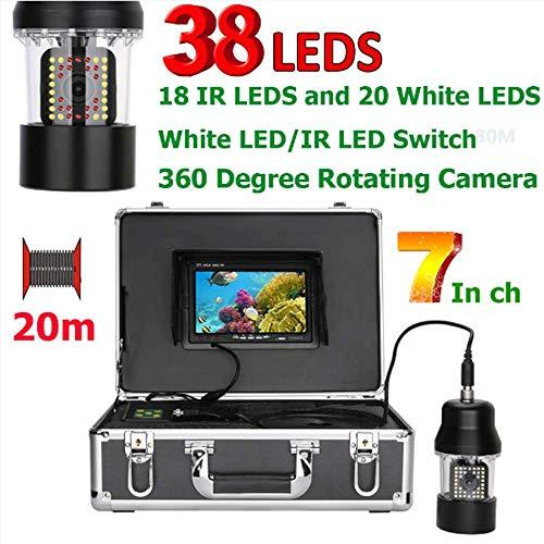 SEXTT Tragbarer 7-Zoll-LCD-Monitor-Fisch-Sucher 360 Grad drehende Videokamera 20m Unterwasserfischen-Kamera IP68 wasserdicht 38 LEDs