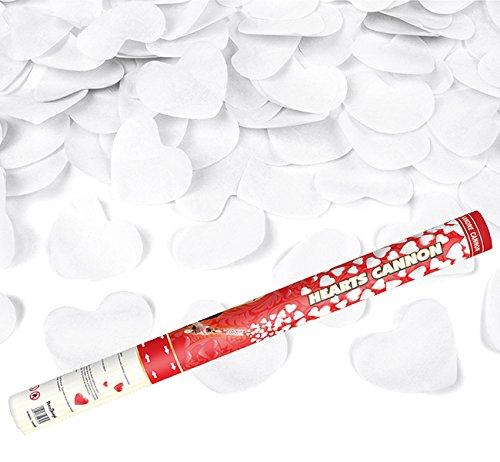 2 Stück - XL 60 cm - mehr als 2000 weiße Papier-Herzen - Kleenes Traumhandel® - Herzregen mit weißen Papier Herzen - Konfetti Kanone Shooter Verlobung Hochzeit Konfettibome
