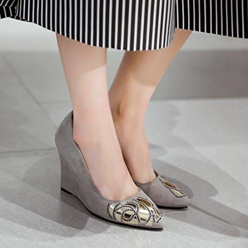 UH Femmes Chaussures de Talon Compensees sans Plateforme de Suede avec Flora Bout Pointu Confortable et a la Mode Gris i6Ef1QxY
