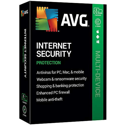 AVG Technologies AVG Internet Security 2020, 5 Devices 2 Year 2020 (Best Antivirus And Firewall 2019)