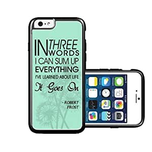 RCGrafix Brand Robert Frost Quote It Goes On Turquoise Dandelions iPhone 6 Case - Fits NEW Apple iPhone 6