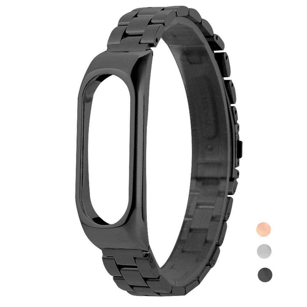 Fashion Clearance! Noopvan Xiaomi Mi Band 2 Replacement Strap,Ultrathin Stainless Steel Wrist Band Bracelet Replacement for XIAOMI MI Band 2 (Black)