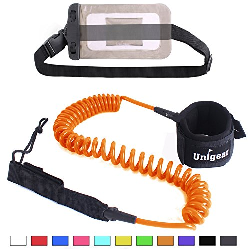 Unigear Premium 10 Coiled SUP Leash (11 Colors) Inflatable Paddle Board Leash with Waterproof Wallet (Orange-New)