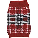 Zack & Zoey 10-Inch Acrylic English Plaid Pet Sweater, X-Small, Red