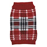 Zack and Zoey 14-Inch Acrylic English Plaid Pet Sweater, Small/Medium, Red, My Pet Supplies