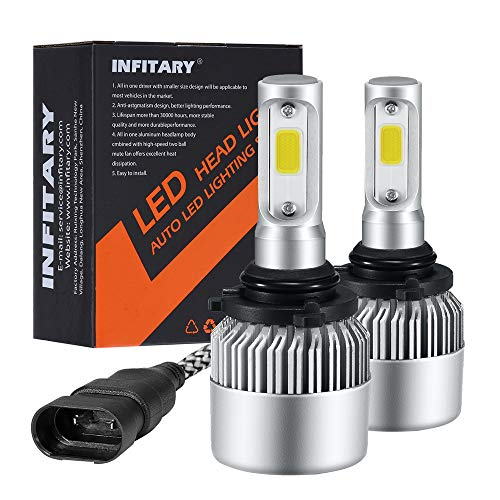 Infitary LED Headlight Bulbs 9006/HB4 Conversion Kits Car LED Headlights 72W/Pair 6500K 8000LM Extremely Super Bright COB Chips- 1 Pair-3 Year Warrenty