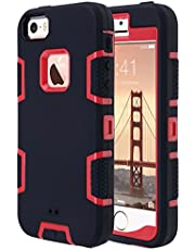 Save on ULAK iPhone 5S Case, iPhone SE Case 3in1 Shockproof Combo Hybrid Hard Rigid PC + Soft Silicone Protective Case Cover for Apple iPhone SE/5S/5 (Red + Black)