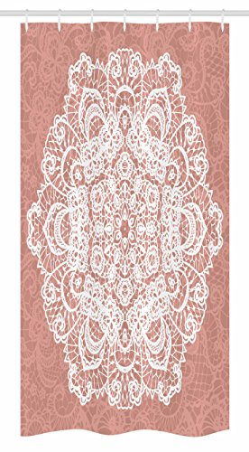 Ambesonne Mandala Stall Shower Curtain, Lace Style Vector Mandala Vintage Abstract Floral Ornamental Design Print, Fabric Bathroom Decor Set with Hooks, 36 W x 72 L Inches, Dried Rose White