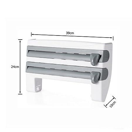 Cocina Portarrollos Film Transparente Aluminio Cortadora Duradera Dispensador Fácil Instalación Cambian: Amazon.es: Hogar