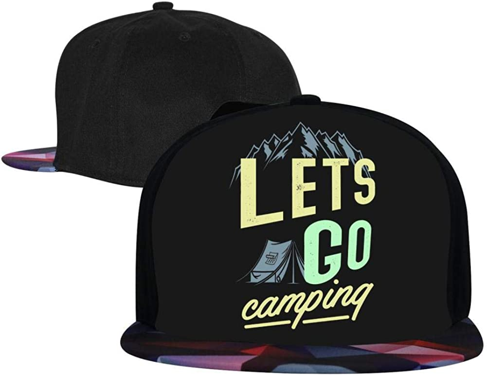 Adjustable Hip Hop Flat-Mouthed Baseball Caps EUYK77 Lets Go Camping Mens and Womens Trucker Hats