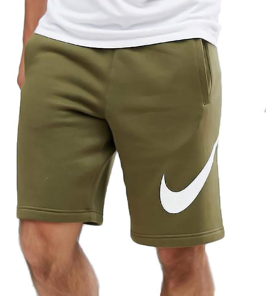 NIKE Jersey Shorts With Large Logo (XL, Olive Canvas/White)