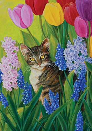 Toland Home Garden Tomcat Tulips 12.5 x 18 Inch Decorative Spring Summer Flower Kitty Cat Garden - Cat Flag