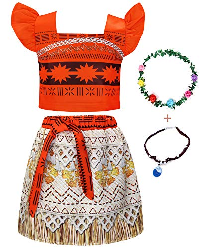 AmzBarley Moana Dress up Toddler Girls Princess Costume Fancy Party Cosplay Outfit Little Kids Holiday Skirt Sets with Necklace and Flower Headband Size 3T(2-3Years)