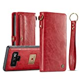 Galaxy Note 9 Case,AKHVRS Handmade Folio Folding Leather Wallet Case with Hidden Card Slot and Luxury Cover Magnetic Detachable Case for Samsung Galaxy Note 9 - Red