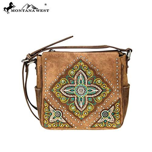 - Montana West Crossbody Messenger Purse Aztec Collection Tribal Floral Design MW715-8360 Brown