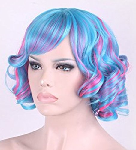 TLT High Quality New Women's Short Wig Full Curly Wavy Glamour Hair Wig Fashion Heat Resistant Wigs the Focus of the Cosplay/Party (Curly Blue Wig)
