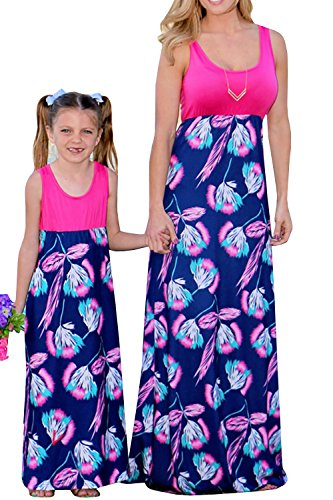 Easter Church Dress - Umeko Mommy and Me Dresses Floral Maxi Dress Matching Set, Women & Girl's Dress (8-9, Rose)