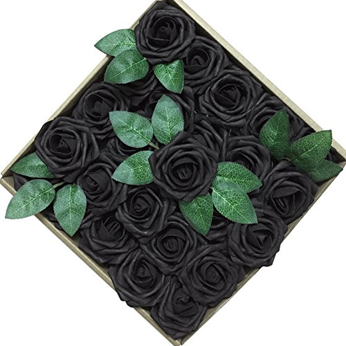 Jing-Rise Wedding Bouquets Rose 50PCS Artificial Flowers Foam Roses With Stem for DIY Bridal Bridesmaids Bouquets Wedding Baby Shower Home Hotel Birthday Party Anniversary Floral Decoration (Black)