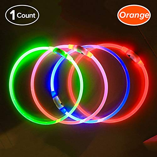 , USB Rechargeable, Glowing pet Dog Collar for Night Safety, Fashion Light up Collar for Small Medium Large Dogs (Orange) ()