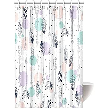 InterestPrint Arrow Decor Shower Curtain Retro Arrows Pattern Native American Style Art Design Fabric Bathroom