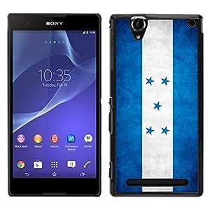 EJOY---Cubierta de la caja de protección para la piel dura ** Sony Xperia T2 Ultra ** --Nacional bandera de la nación País Honduras