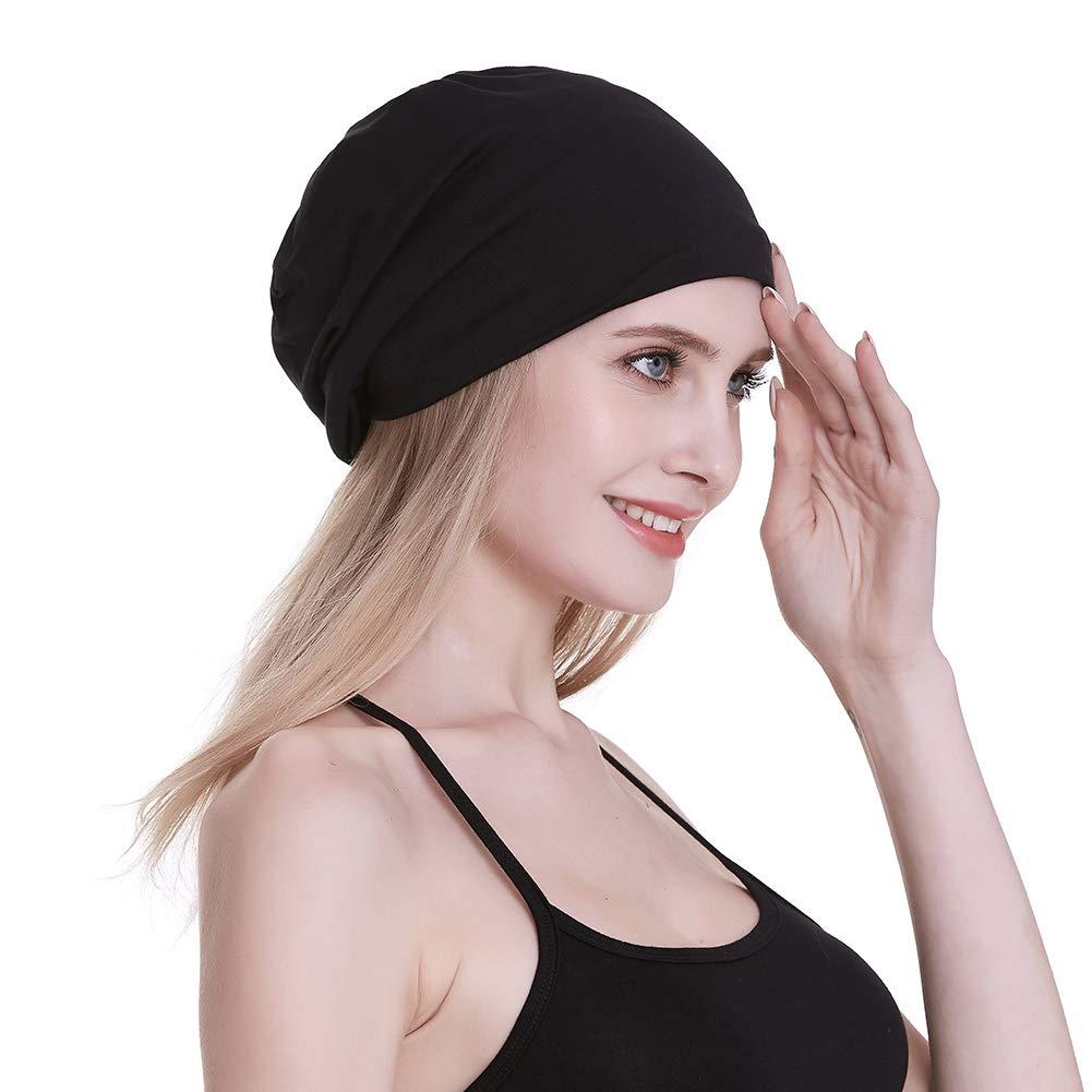 Satin Line Sleep Cap for Curly Hair Silky Satin Sleeping Turbans for Frizzy Hair Slouchy Cap Black