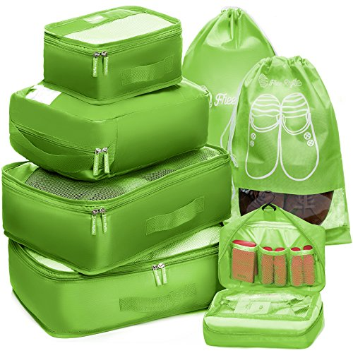 Free Packing - Packing Cubes Travel Set 7Pc 2 Large Cube Organizer Laundry Shoe & Toiletry Bag (Lime Green)