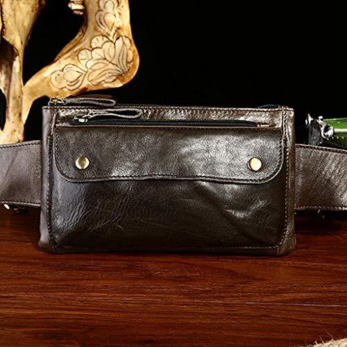 para Unisex marrón Talla Kimruida y única cinturón marrón Bandolera Hombre cinturón Cremallera con Bolso wZCgXqxCU