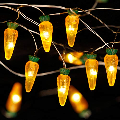 (Intresting Decorations Ideas, Carrot Pascha Theme String Lights, 10 ft 30 LEDs with Dimmble Remote, Timer, 8 Flicker Modes, 3AA Battery/USB plug-in for Bedroom, Birthday, Tent Wedding Party, July 4th)