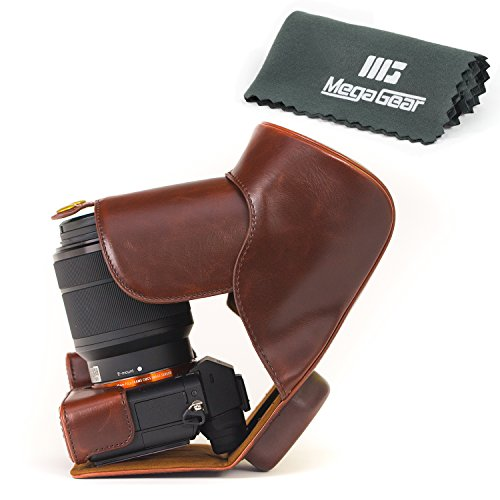 MegaGear Leder Kameratasche für Sony Alpha a7 II, a7R II, & a7S II Digitalkamera und Objektive (Dunkelbraun)