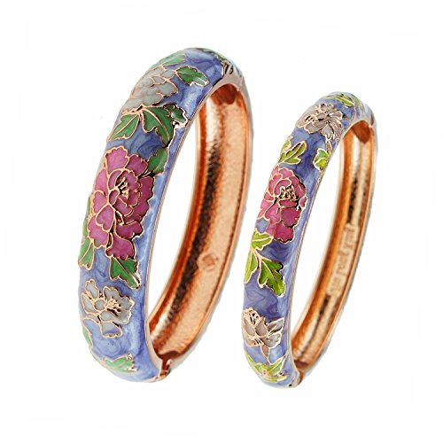 Enamel Vintage Bangles - UJOY Vintage Cloisonne Jewelry Bracelet Enamel Flower Hinge Open Gift Bangles Bracelets for Women Gilrs 55C48 purple