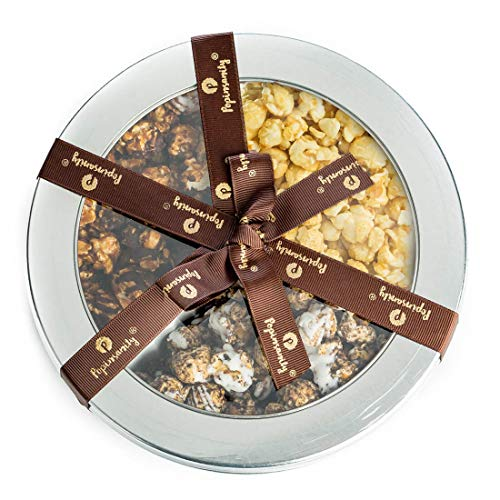 Gourmet Popcorn Deluxe Tri Flavored Gift Tin - Sweet & Salty | Cookies & Cream | Caramel Chocolate Drizzle