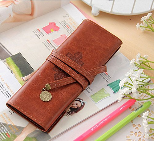 DZT1968 Vintage Pirate Style Roll practical Pencil Bag Pen Pocket Pack Make Up Tool (Roll Case Pack)