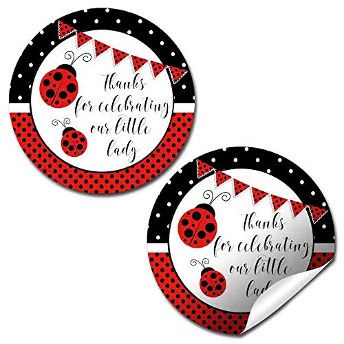 Red Polka Dot Little Ladybug Themed Birthday Party Thank You Sticker Labels for Girls, 40 2