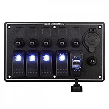 5 Gang LED Schaltpaneel Sicherung Schalter Schalttaf Wasserdicht für Auto Boot