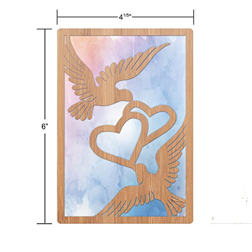 Bamboo Wood Greeting Card Doves Design: Premium Handmade Wooden Card Perfect Gift To Say I Love You, Happy Anniversary, Just Because, Or A Great Valentine's Day Card