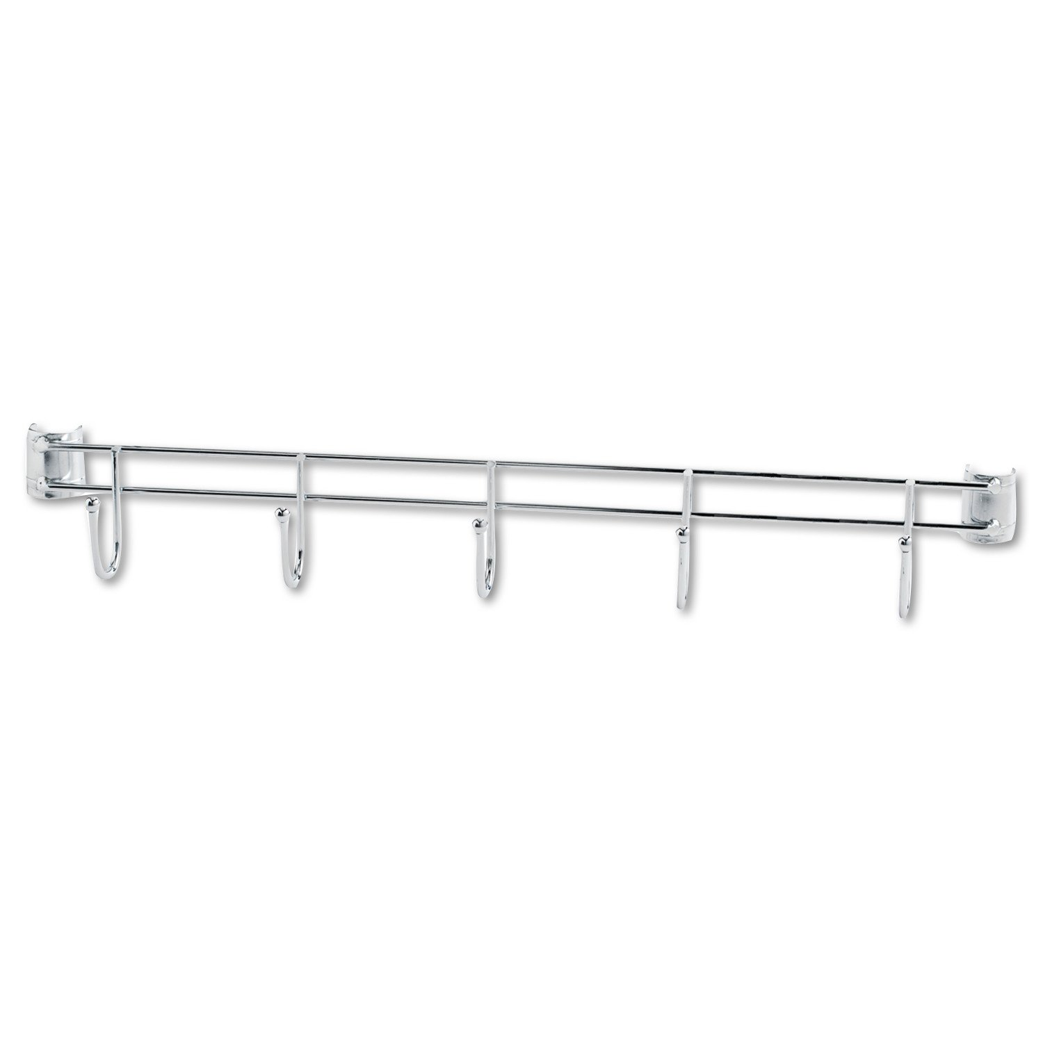 Alera ALESW59HB424SR Hook Bars For Wire Shelving, Five Hooks, 24'' Deep, Silver (Pack of 2 Bars)
