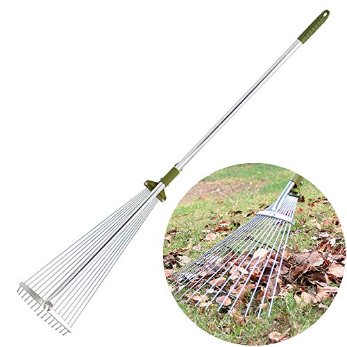 - Sungmor Antirust Aluminium 48 to 61 inch Telescopic Leaf Rake with 15-Teeth Adjustable Folding Head,Worth Garden Long handled Leaves Sweeping Tool