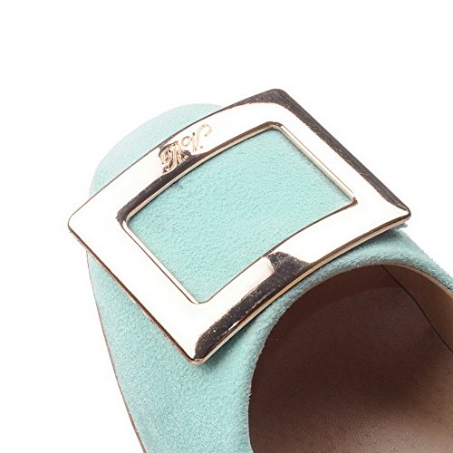 Green WeiPoot Toe Frosted Square Women's Solid Closed Kitten Pull on Pumps Heels Shoes fgxfR4rqw7