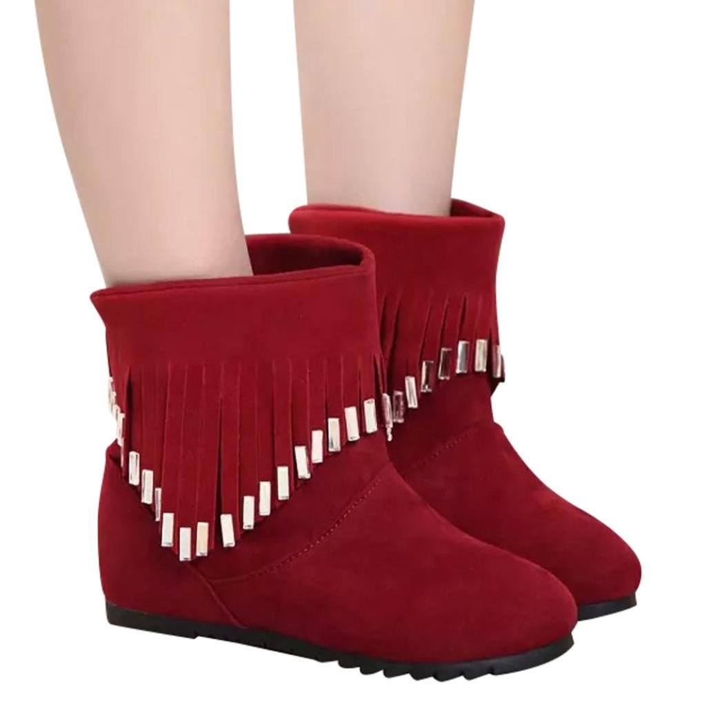 Kinrui Women's Ankle Bootie Round Toe Cone Heel Flat Low Slip-On Tassel Casual Shoes Martin Boots (Red, US:8)