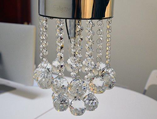 Siljoy Mini Style Crystal Chandeliers Rain Drop Flush Mount Ceiling Light Lamp Diameter 7″ x Height 9.9″