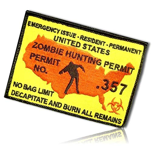 Zombie Hunting Permit .357 Outbreak Hunger Emergency Issue Resident Permanent United States Map Bio Hazard Poison Badge Tab Hook & Loop Fastener Patch [4.2